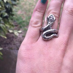 Silver Patina Snake Ring Sz 7